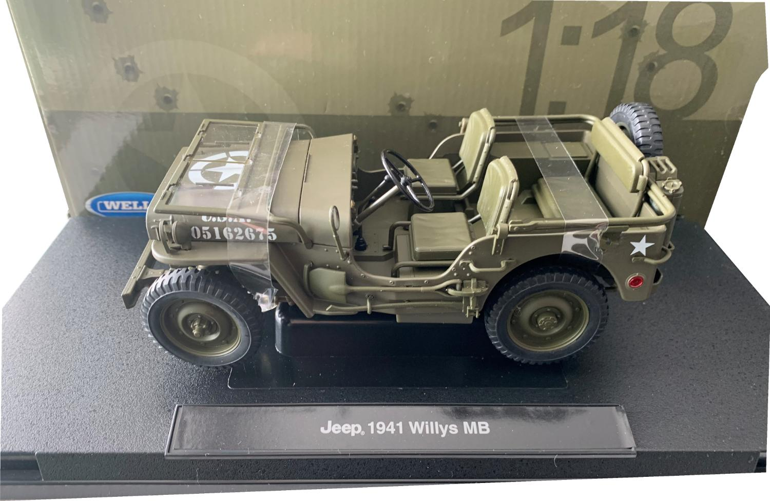 Willys MB USA Military Jeep Open 1941 in green 1:18 scale model from Welly