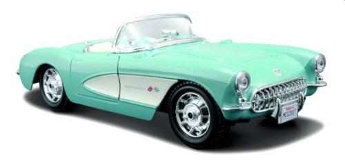 Chevrolet Corvette 1957 open top in turquoise, 1:24 scale model from Maisto
