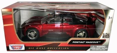 Pontiac Rageous in metallic red, 1:24 scale diecast model from Motormax, MMX73258R