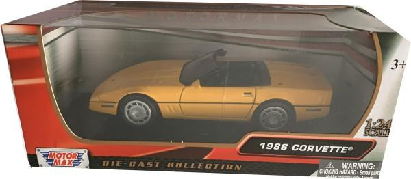 Chevrolet Corvette 1986 in yellow 1:24 scale model from motor max