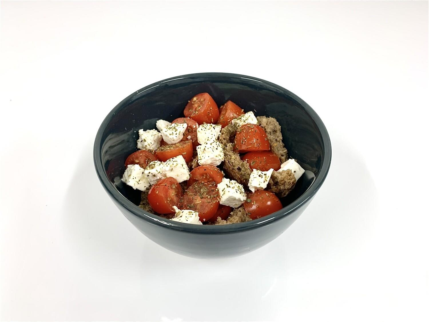 Greek salad with barley rusk