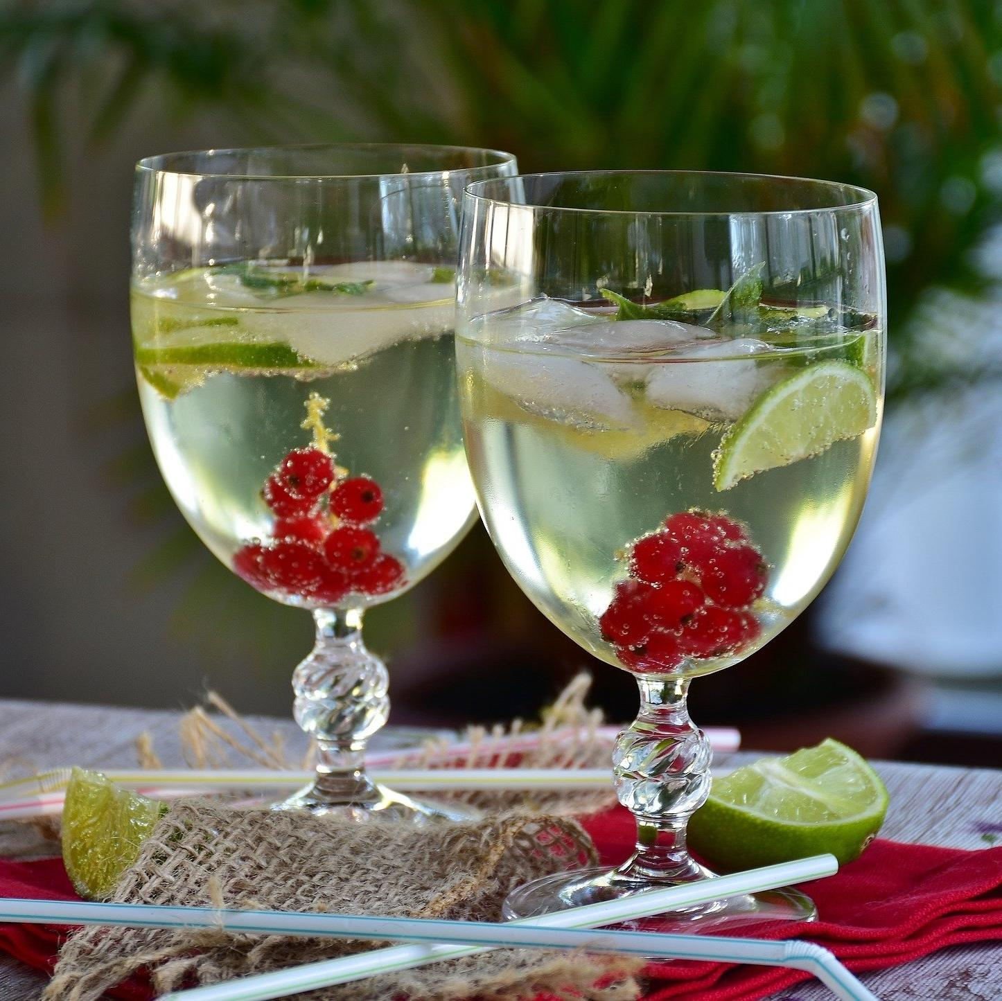 Glasses of carbonated elderflower cordial with added fruit