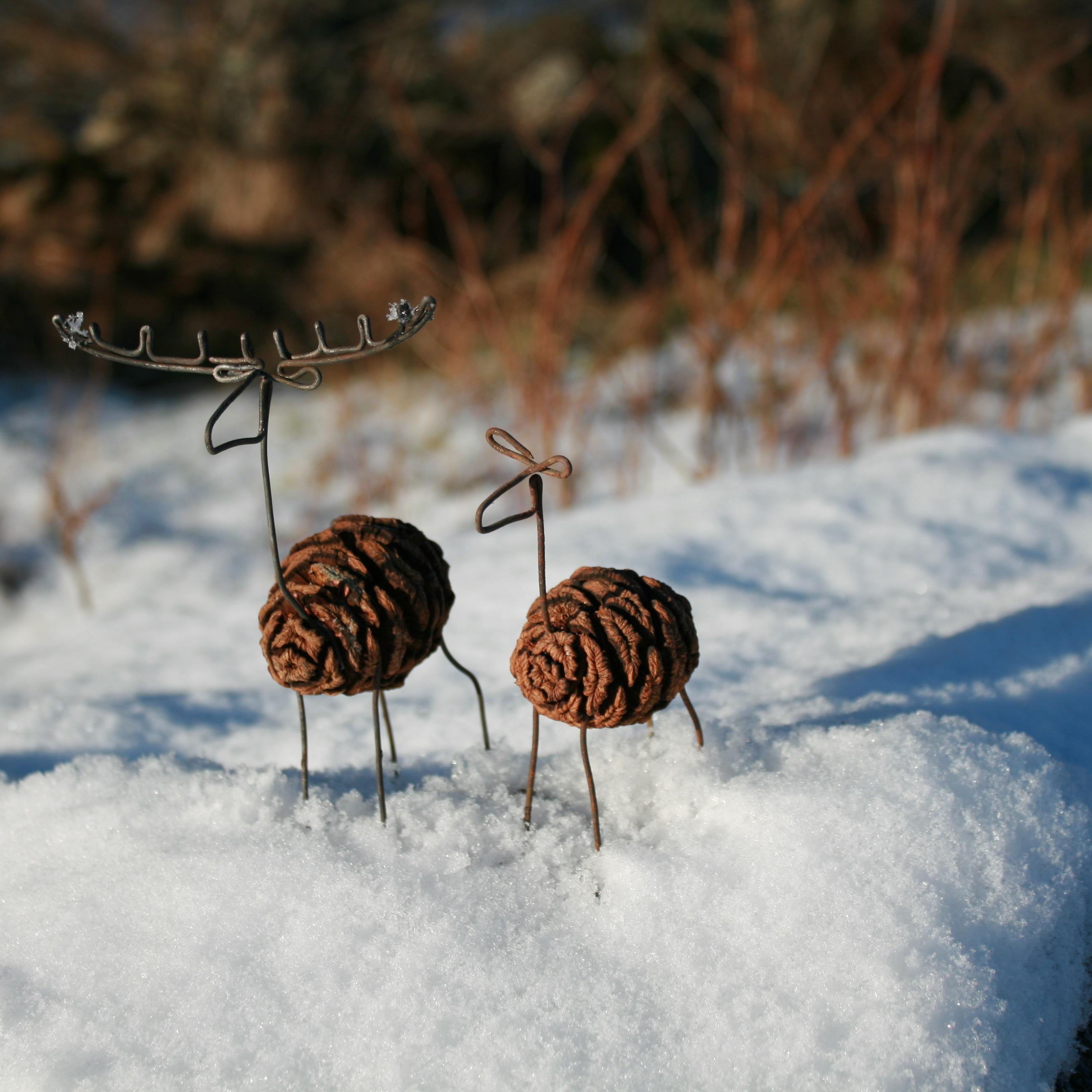 Pair of pine cone deer decorations
