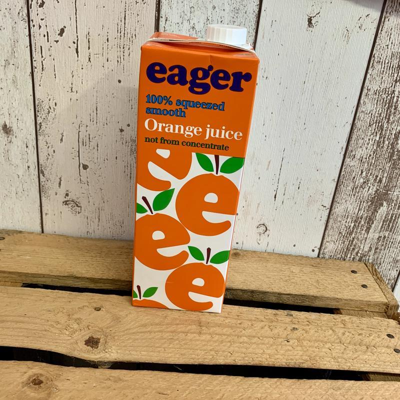 A carton of Eager orange juice