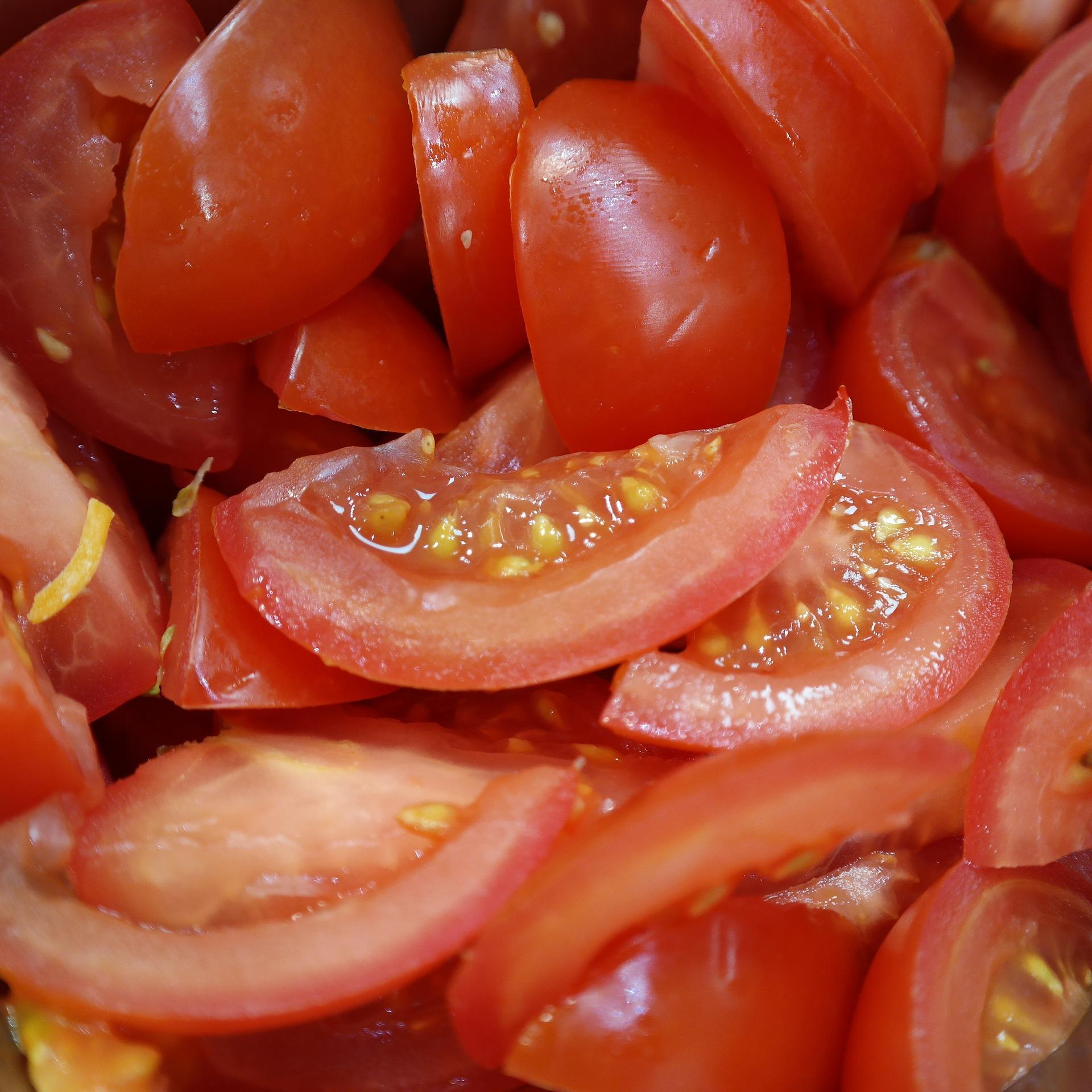 Close up of chopped cherry tomatoes