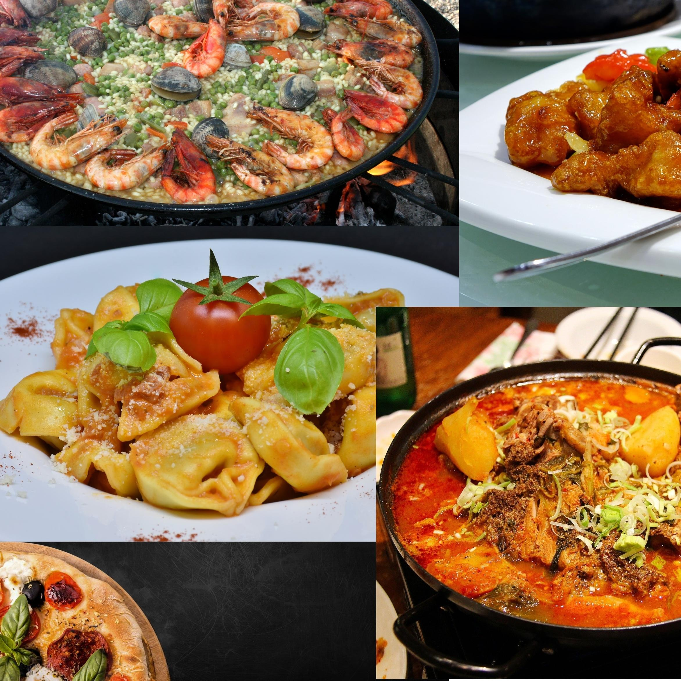 A collage of various takeaway meals