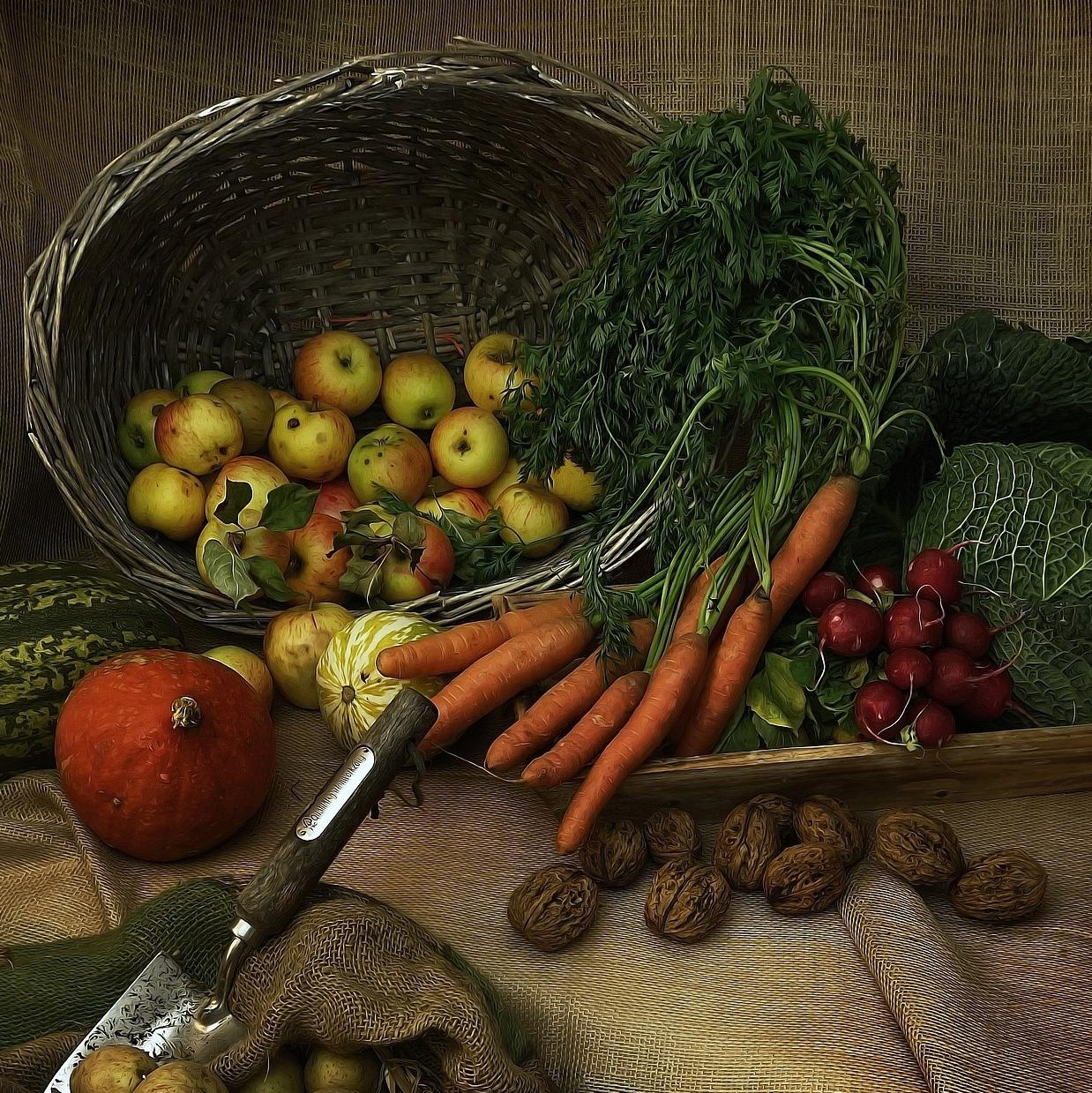 A display of autumn vegetables