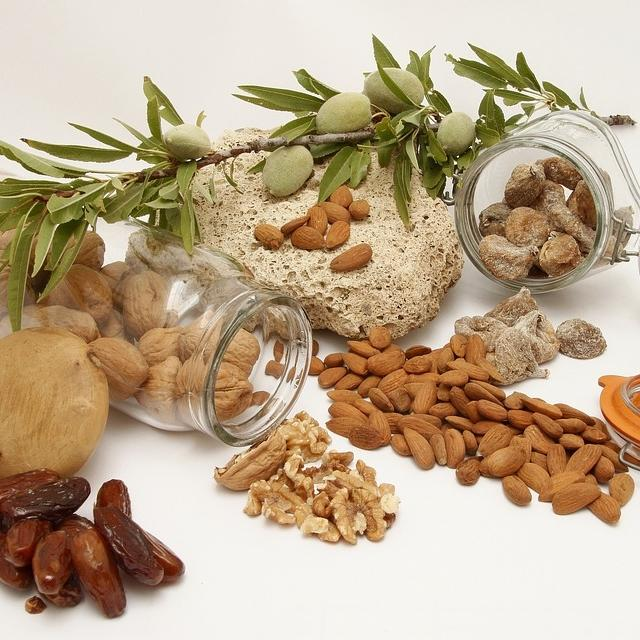 A display of nuts and dried fruit