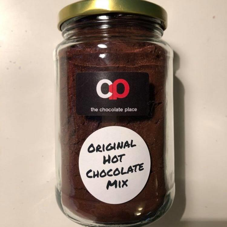 A full jar of The Chocolate Place hot chocolate mix