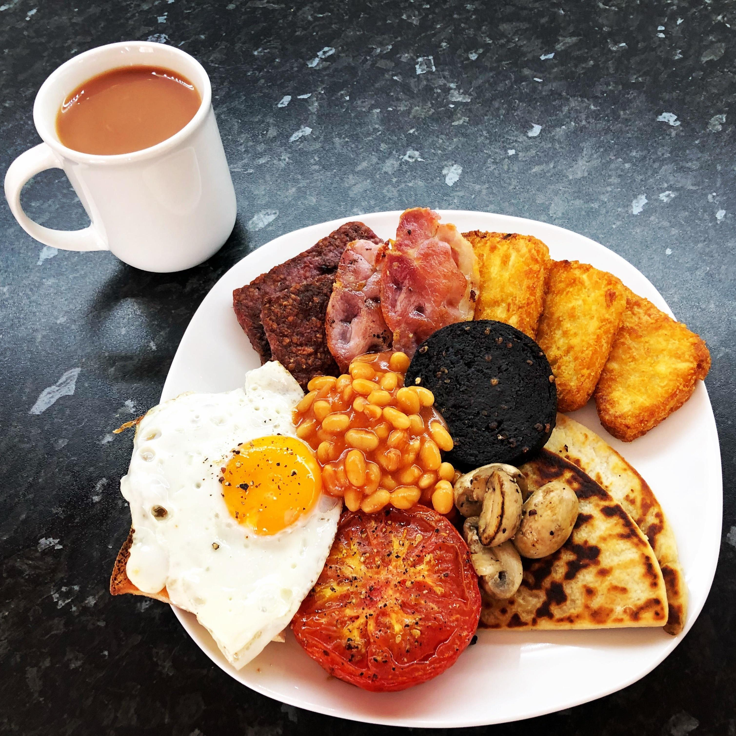 A plate containing a full Scottish breakfast
