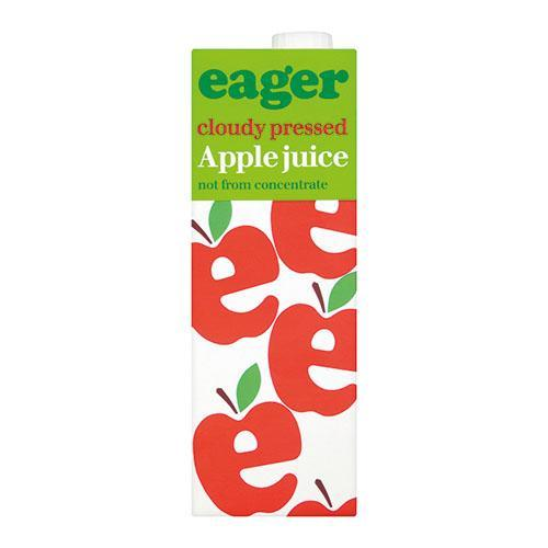Carton of Eager apple juice