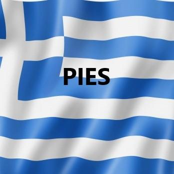 Greek flag with Pies written across it