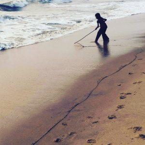 child, beach, drawing, line, freedom,